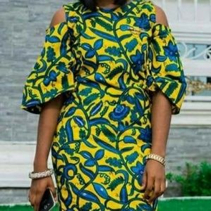 Ethnic African Ankara Cold-Shoulder Dress